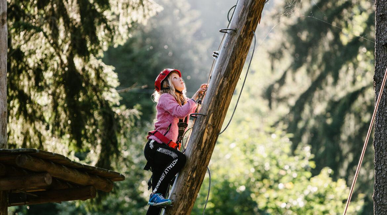 Kind auf einer Leiter im Waldseilgarten Höllschlucht, Pfronten